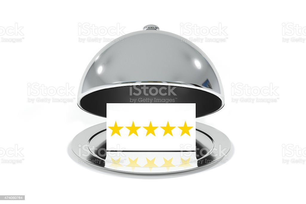 opened silver cloche with white sign five stars rating stock photo