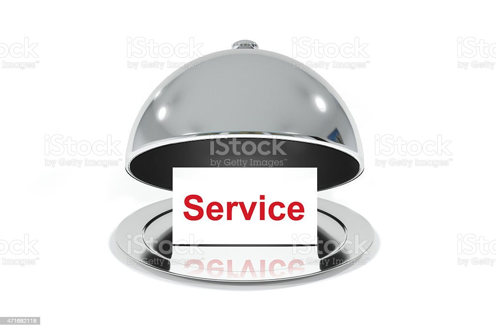 opened silver cloche with white sign service stock photo