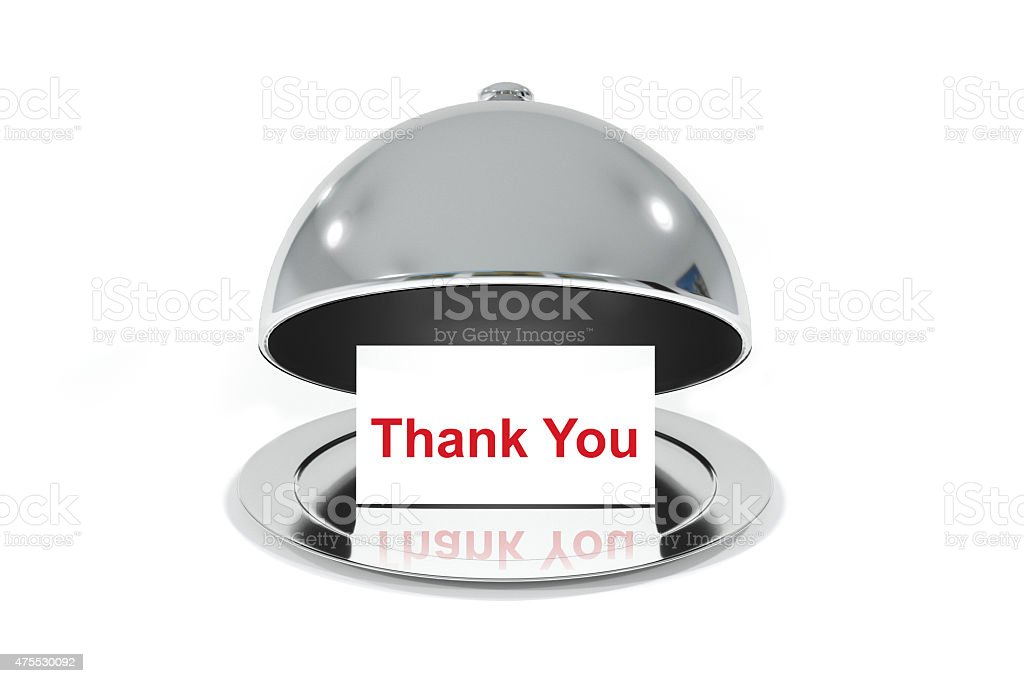 opened silver cloche with white sign thank you message stock photo