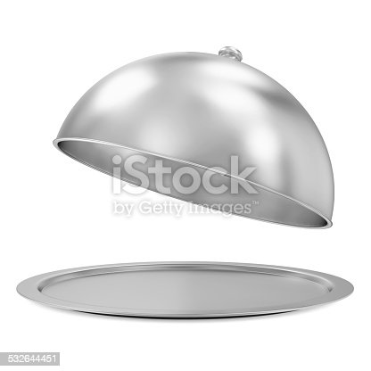 istock Opened Silver Tray isolated on white background 532644451