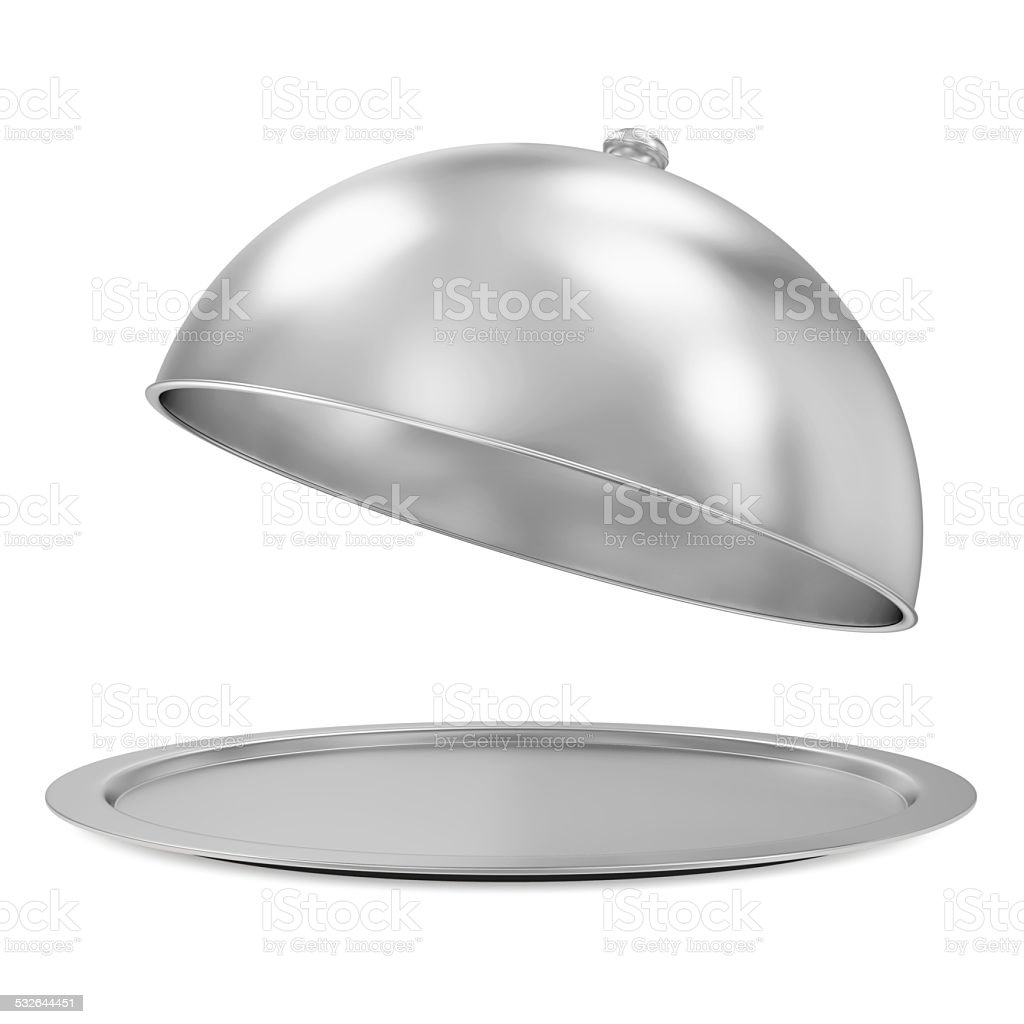 Opened Silver Tray isolated on white background stock photo