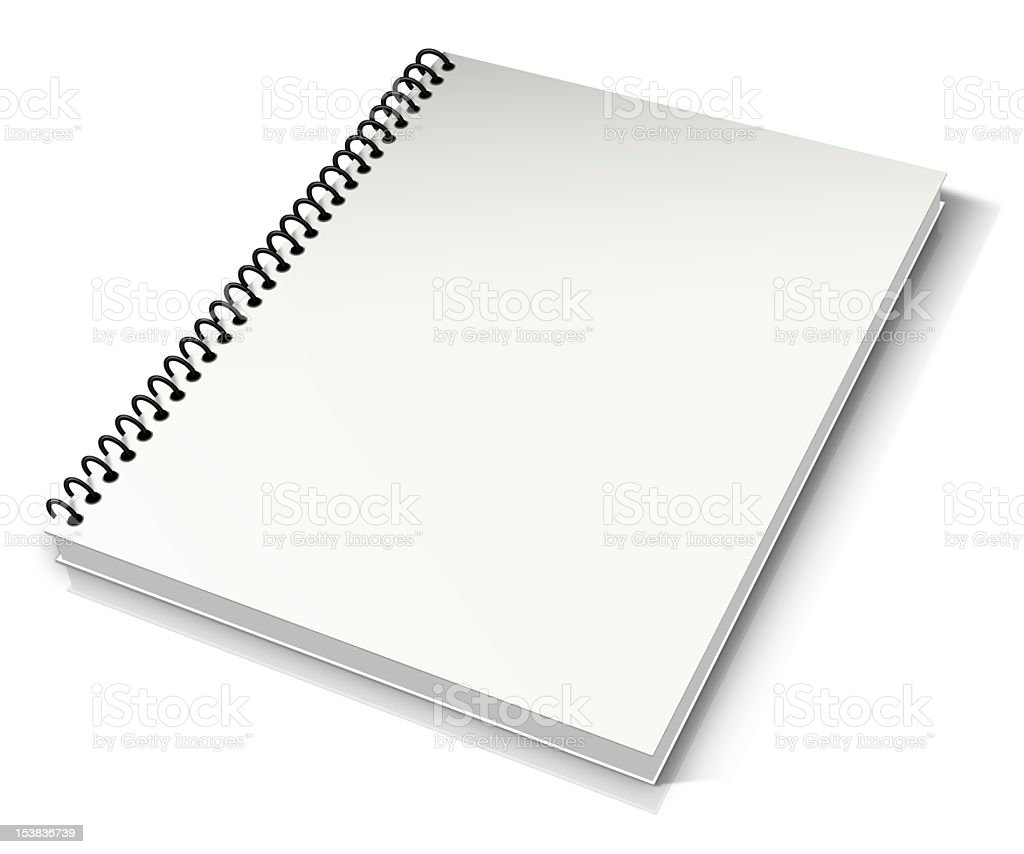 Opened spiral notebook isolated on white background stock photo