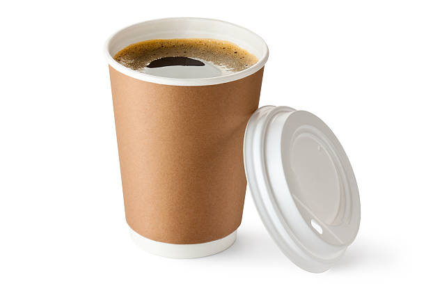 opened take-out coffee in cardboard cup - paper coffee cup stock photos and pictures