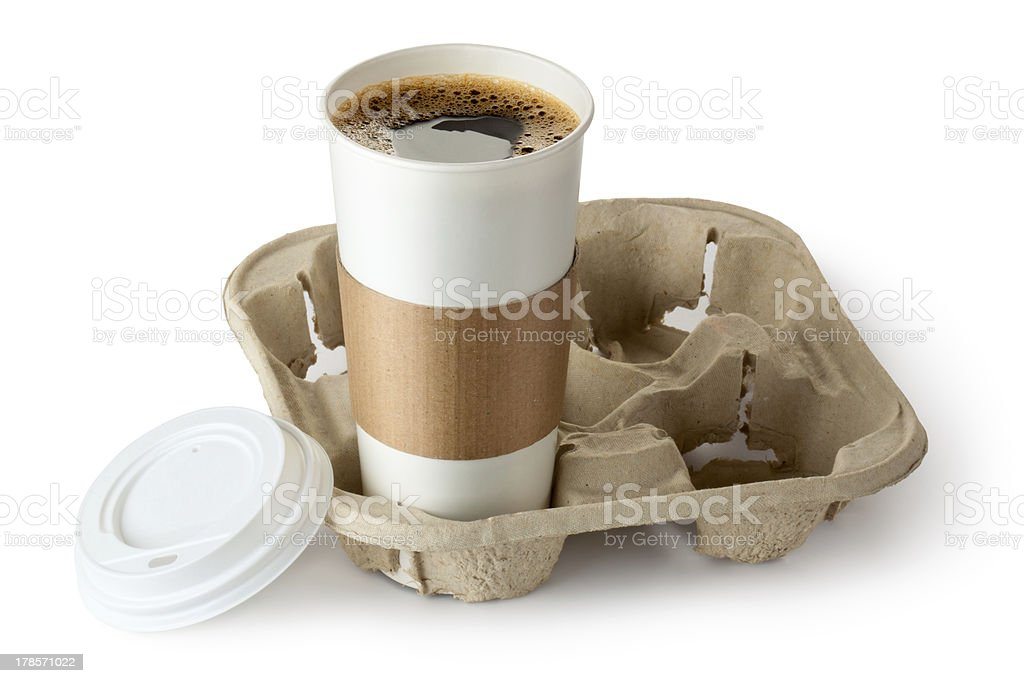 Opened take-out coffee in holder royalty-free stock photo