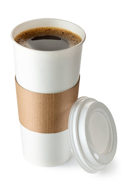 opened take-out coffee with cup holder - paper coffee cup stock photos and pictures