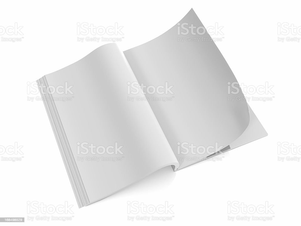 Opened the blank book  magazine 1 stock photo