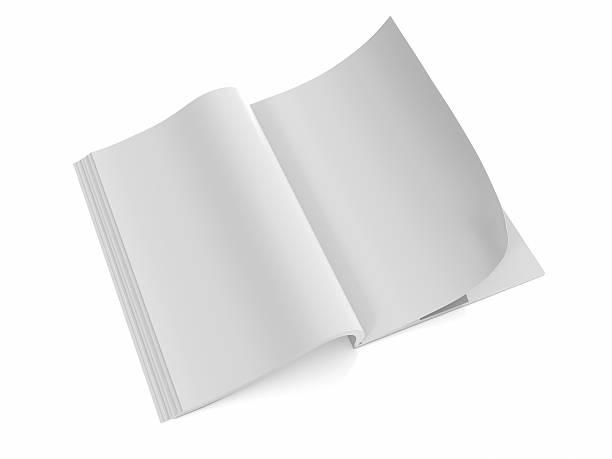 Opened the blank book  magazine 1 stock photo