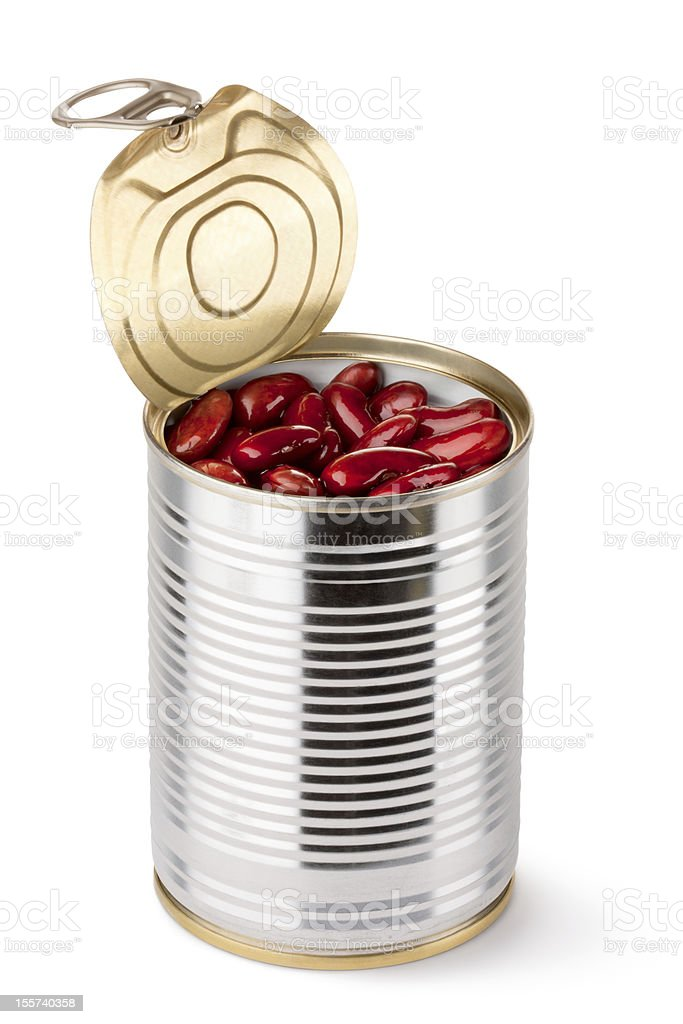 Opened tin with red beans royalty-free stock photo