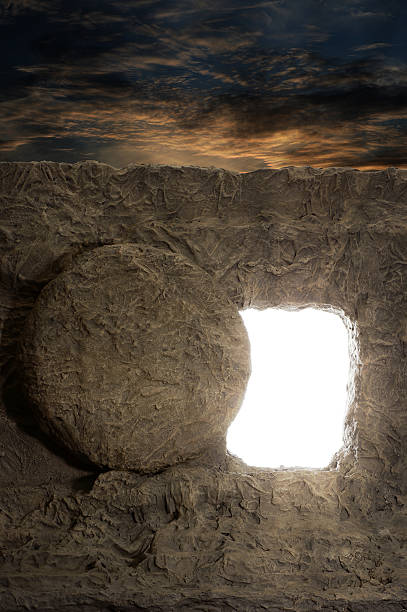Opened Tomb of Jesus Open tomb of jesus with light coming out of opening tomb stock pictures, royalty-free photos & images
