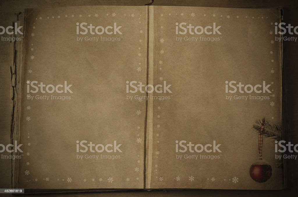 Opened Vintage Book at Christmas royalty-free stock photo