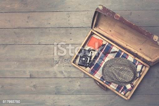 istock opened vintage suitcases with clothes and accessories 517993750