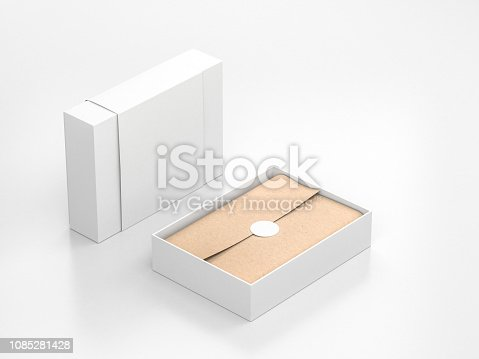 istock Opened White Gift Box Mockup with cower and kraft wrapping paper and round label 1085281428