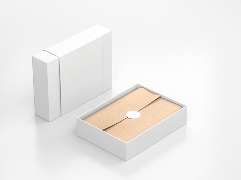 Opened White Gift Box Mockup with cower and kraft wrapping paper and round label, 3d rendering