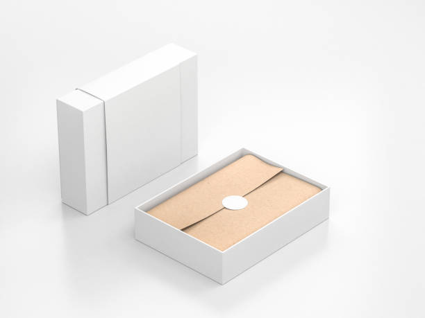 opened white gift box mockup with cower and kraft wrapping paper and round label - scatola foto e immagini stock