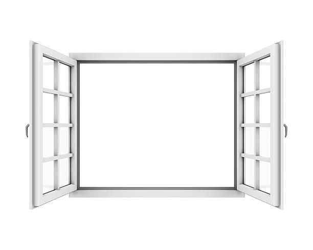 Opened White Window stock photo