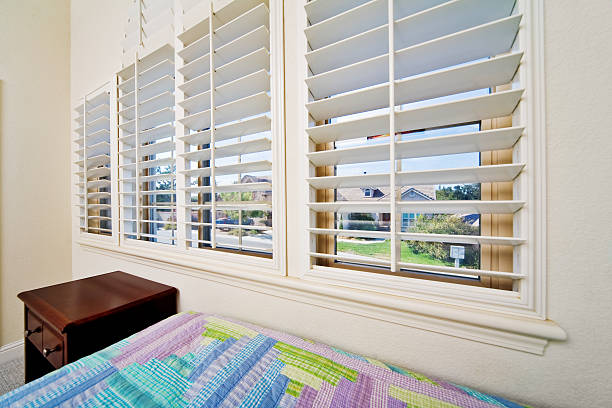 Opened Window Blinds stock photo