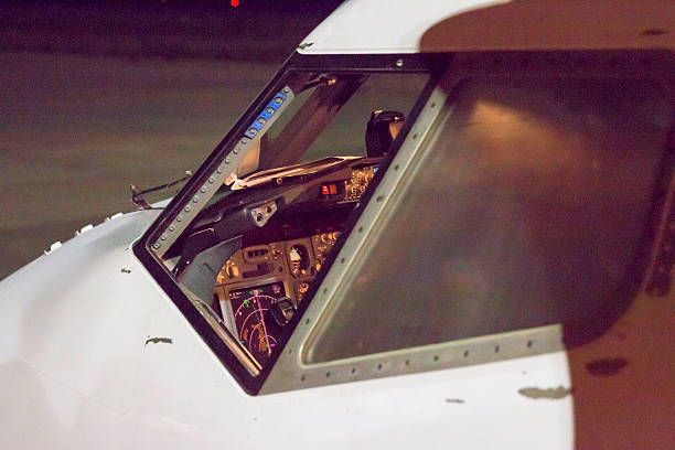 Opened window on cockpit of Boeing 737 stock photo
