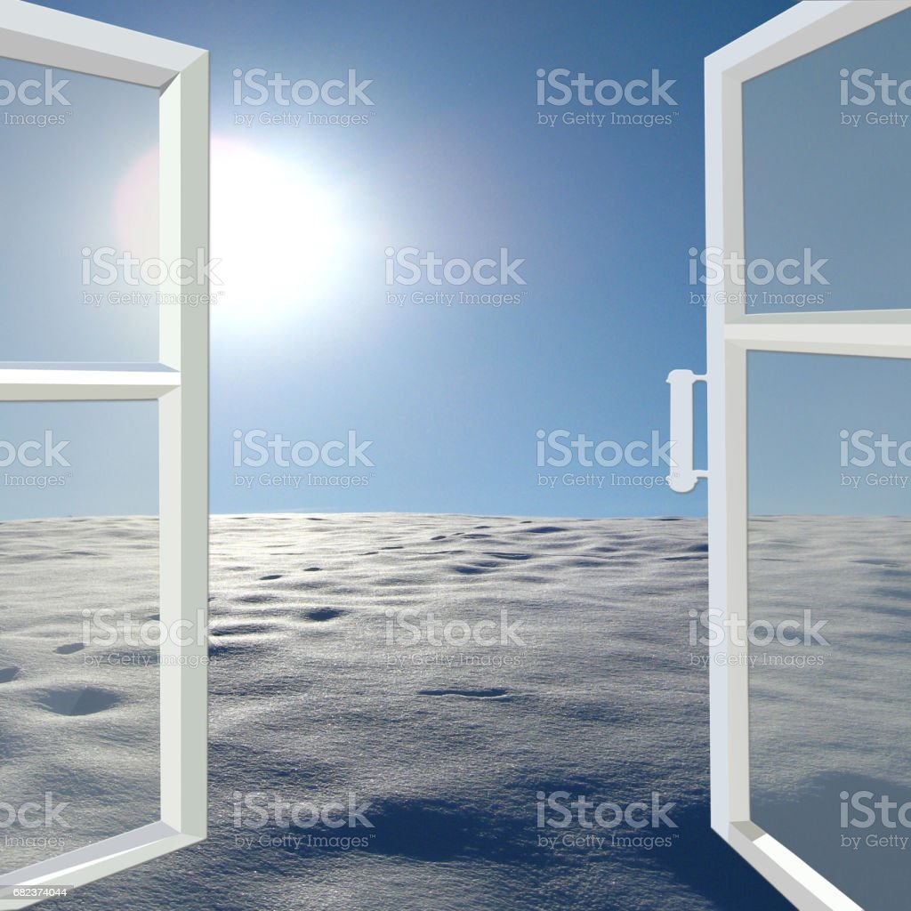opened window to winter solar landscape with bright snow and sun zbiór zdjęć royalty-free
