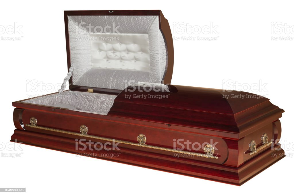 Opened wooden coffin isolated on white background stock photo