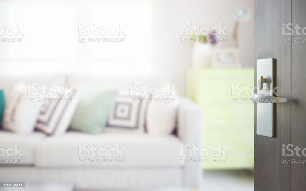 opened wooden door to cozy sofa with geometric pattern pillows and green sideboard in living corner stock photo