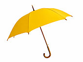 Opened yellow umbrella with brown handle on white background