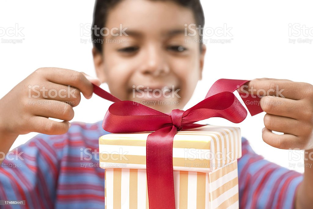 Opening a gift! royalty-free stock photo