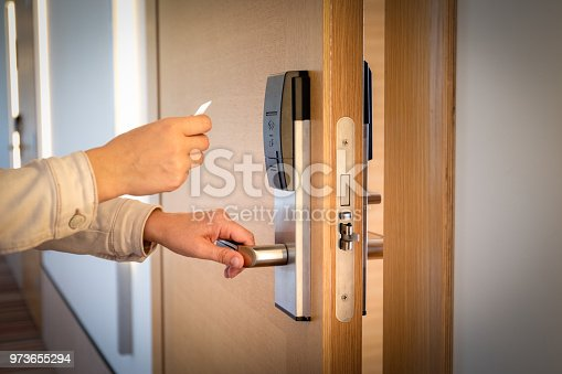 istock Opening a hotel door with keyless entry card 973655294