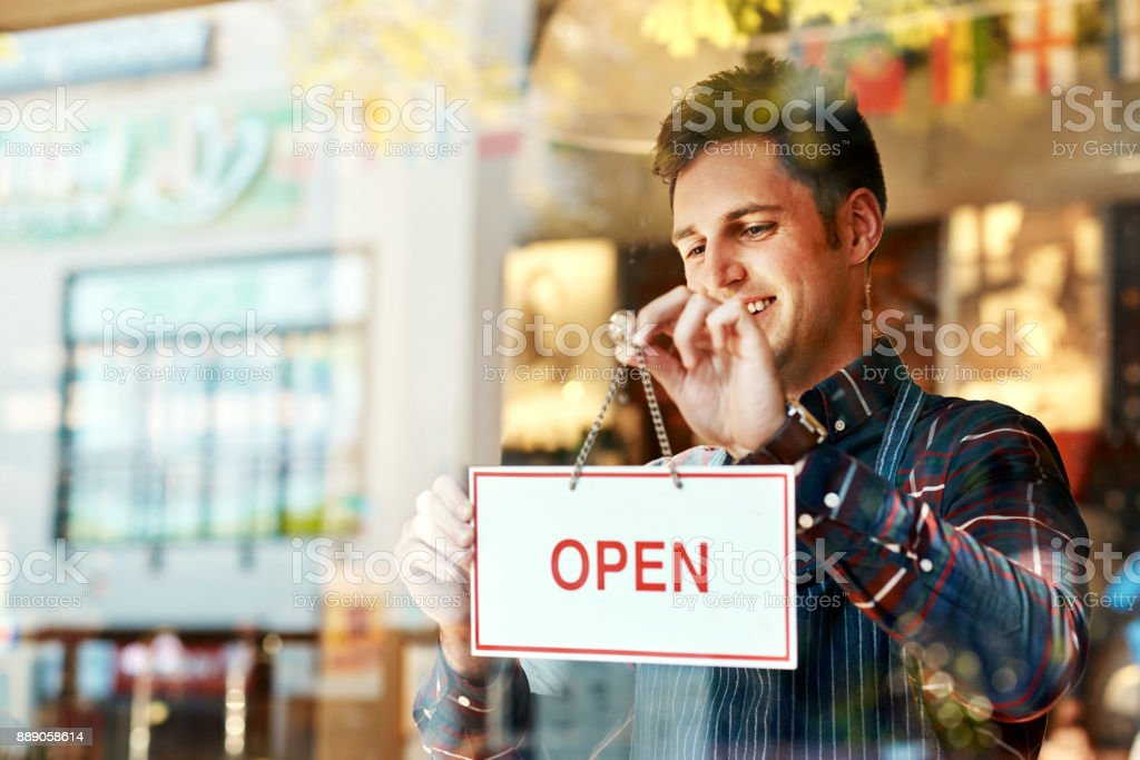 Opening a restaurant takes planning, time, money and passion stock photo