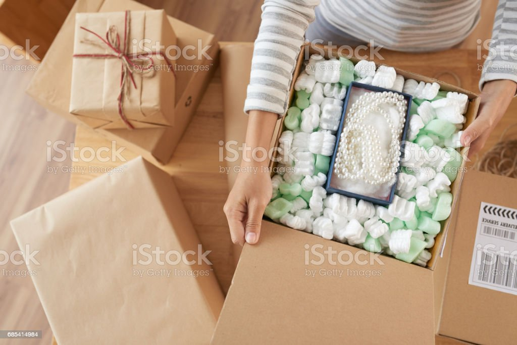Opening boxes stock photo