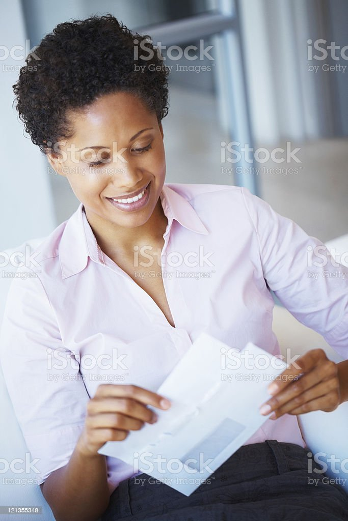Opening business mail royalty-free stock photo