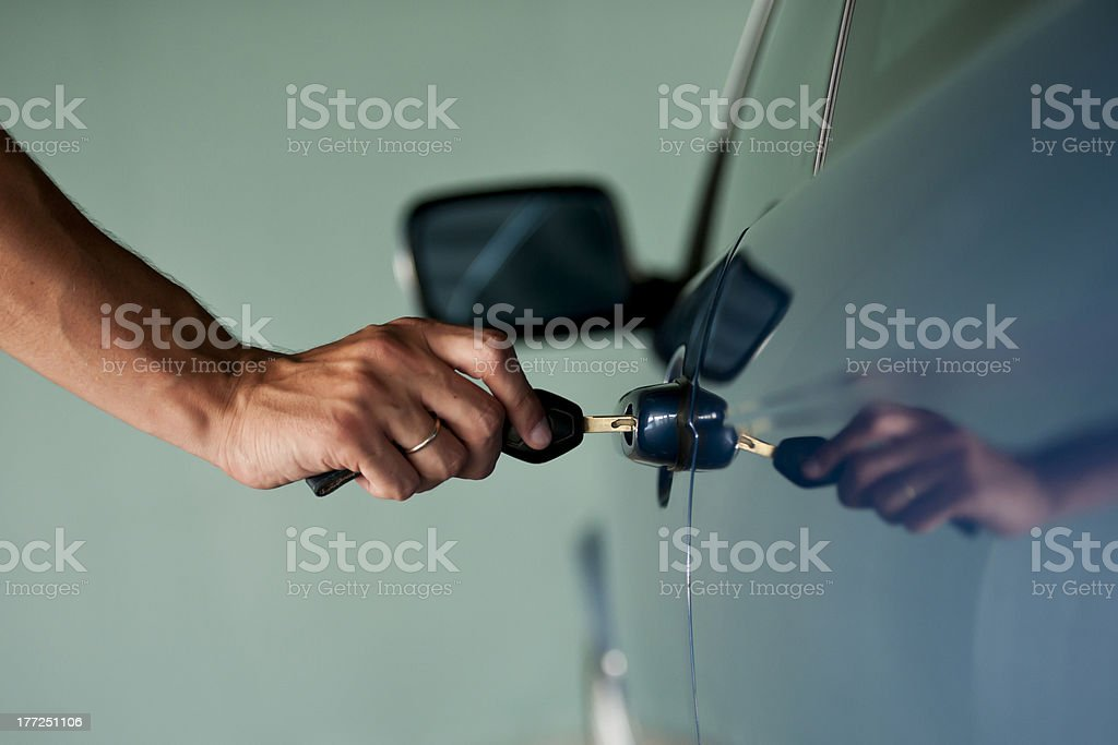 Opening Car Door stock photo
