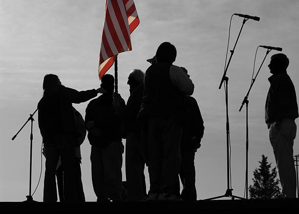 opening ceremony silhouette - national anthem stock photos and pictures