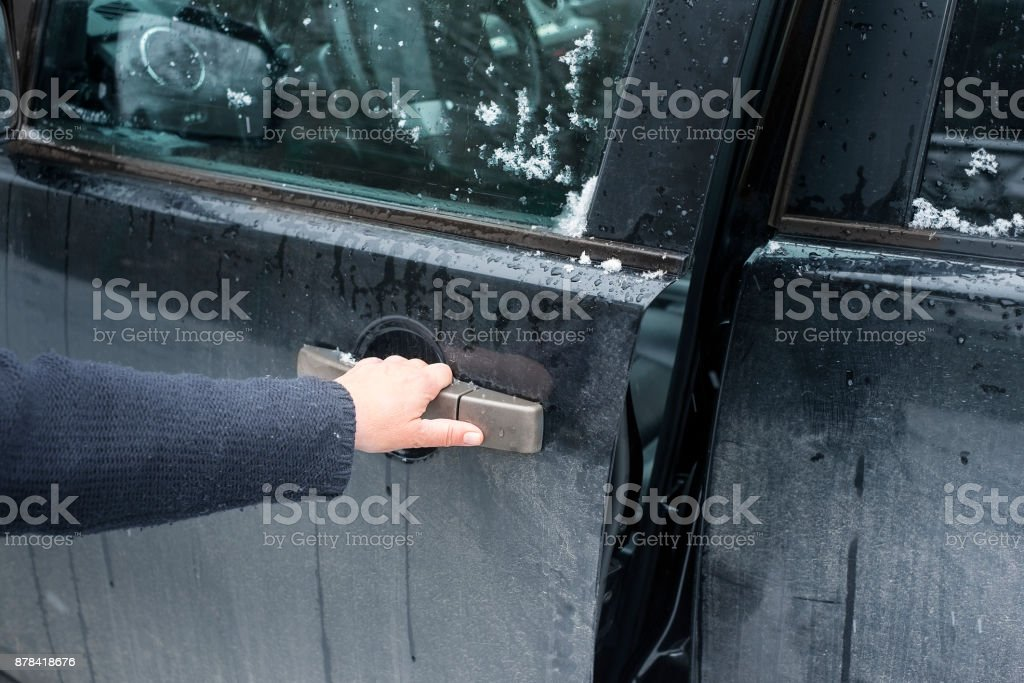Opening Dirty Car stock photo