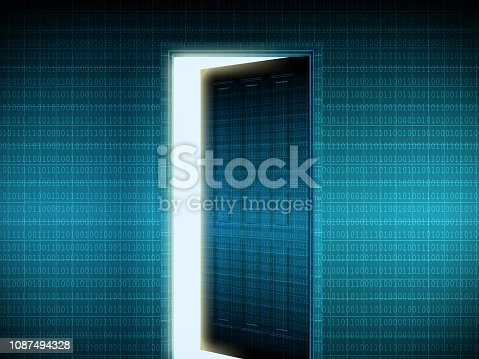Opening door on binary codes background. ( 3d render )