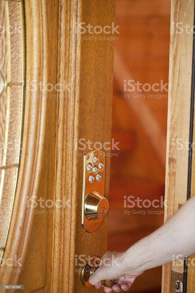 Opening Door that has a Keypad Lock royalty-free stock photo