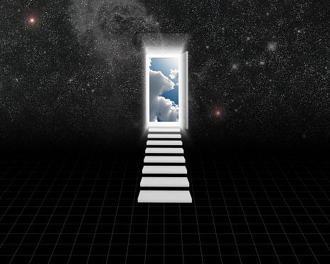 Opening door to another world. 3D rendering