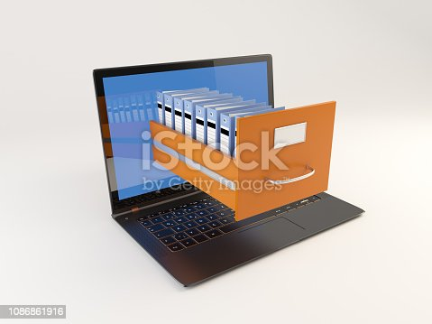 535191355istockphoto Opening File Cabinet With Laptop 1086861916