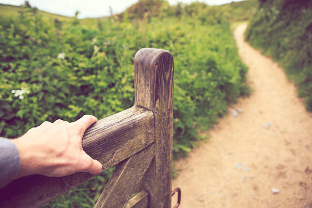 opening gate on a walk in cornwall - open gate stock photos and pictures