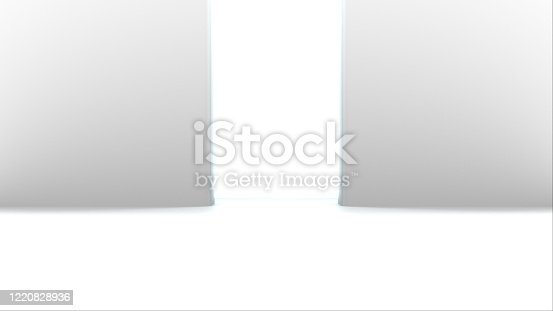 859156600 istock photo Opening gates with shine, computer generated. 3d rendering of automatic sliding doors, abstract background 1220828936