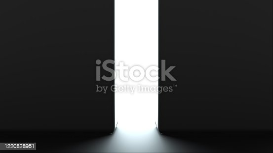 859156600 istock photo Opening gates with shine, computer generated. 3d rendering of automatic sliding doors, abstract background 1220828951