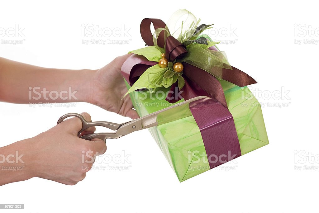 Opening gift royalty-free stock photo