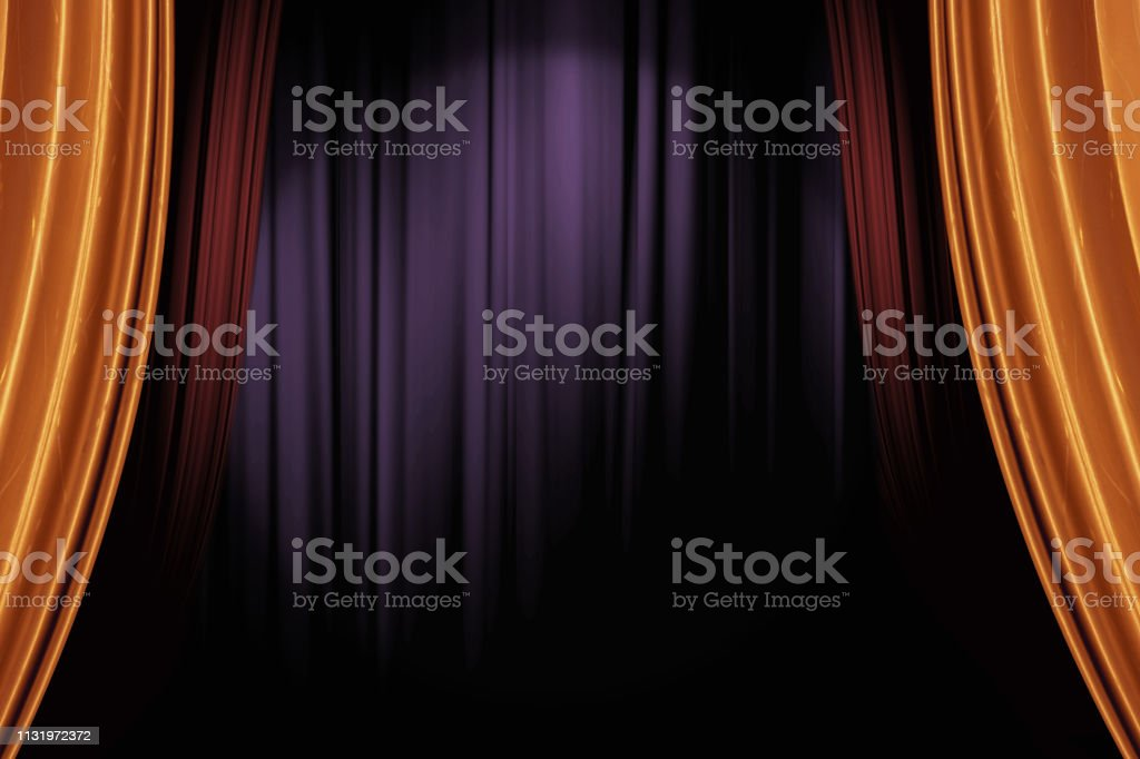 opening gold and red stage curtains in dark theater for a live performance background - Стоковые фото Абстрактный роялти-фри