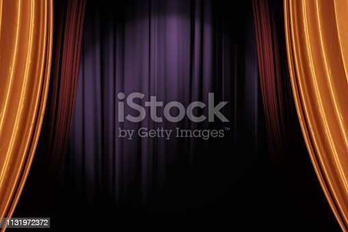 opening gold and red stage curtains in dark theater for a live performance background