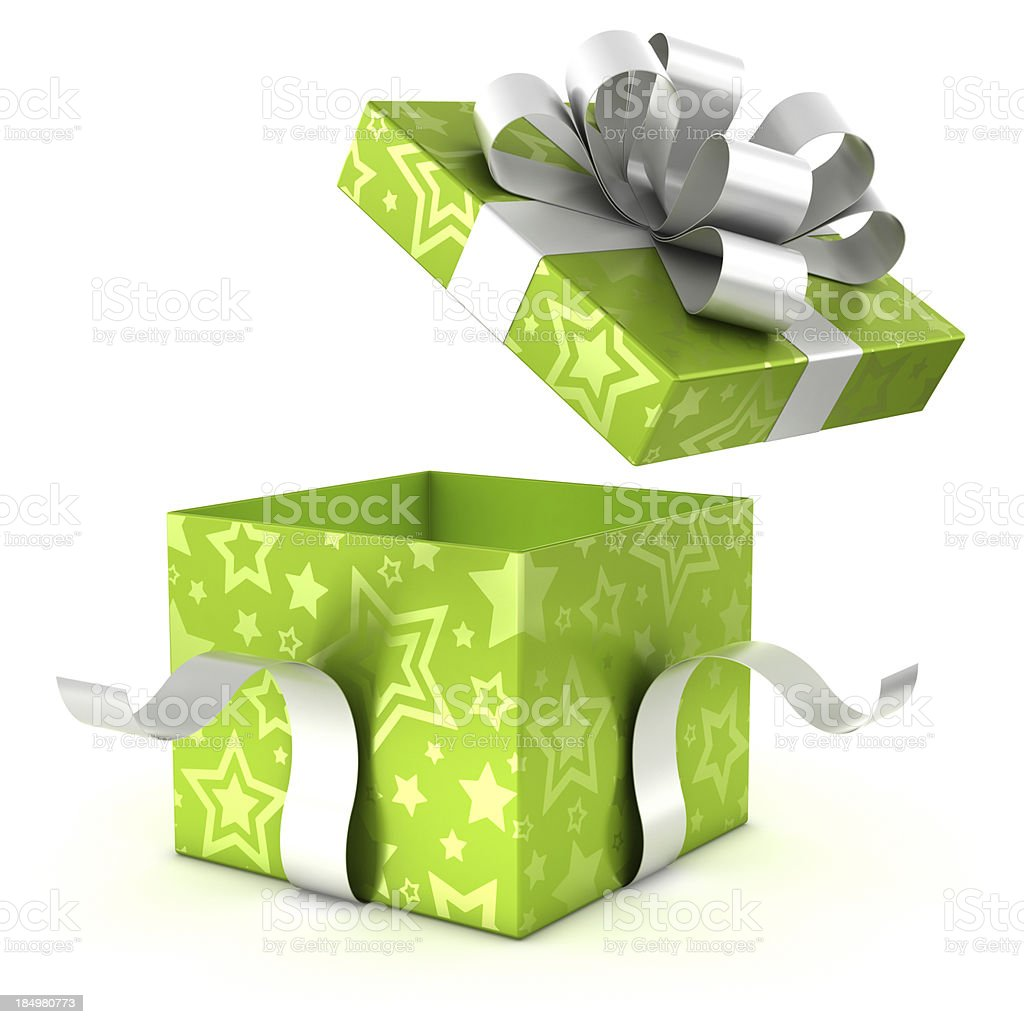 Opening green gift box with clipping path royalty-free stock photo