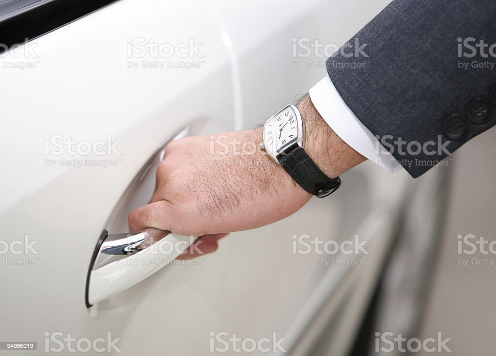 opening luxury car door royalty-free stock photo