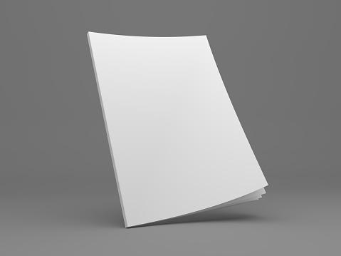 Blank 3D illustration mockup on dark gray. Opening magazine cover.
