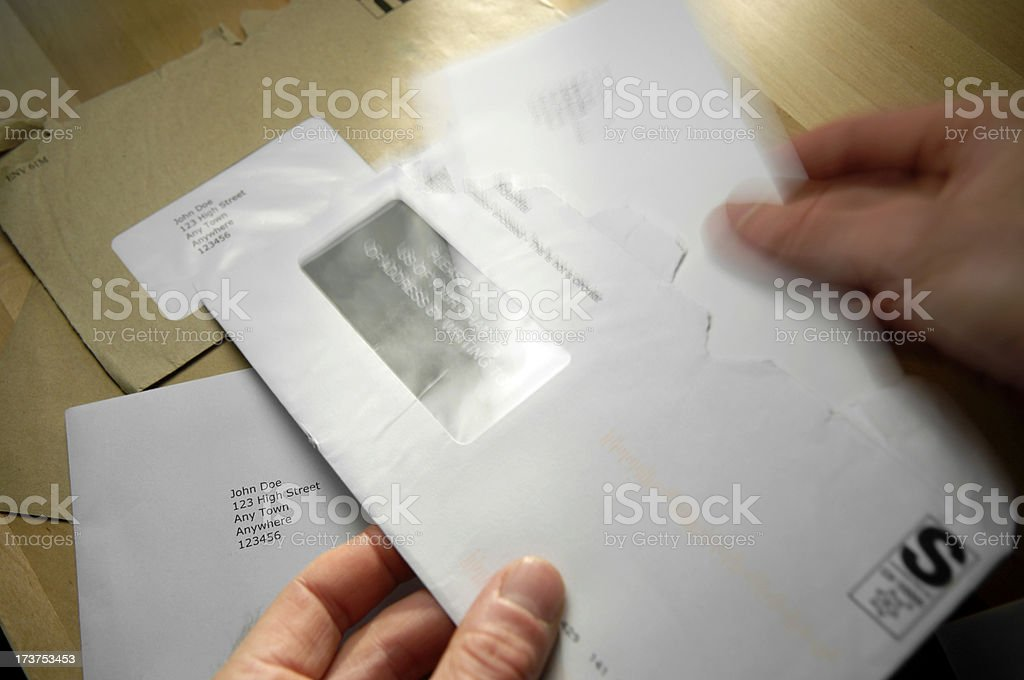 opening mail royalty-free stock photo