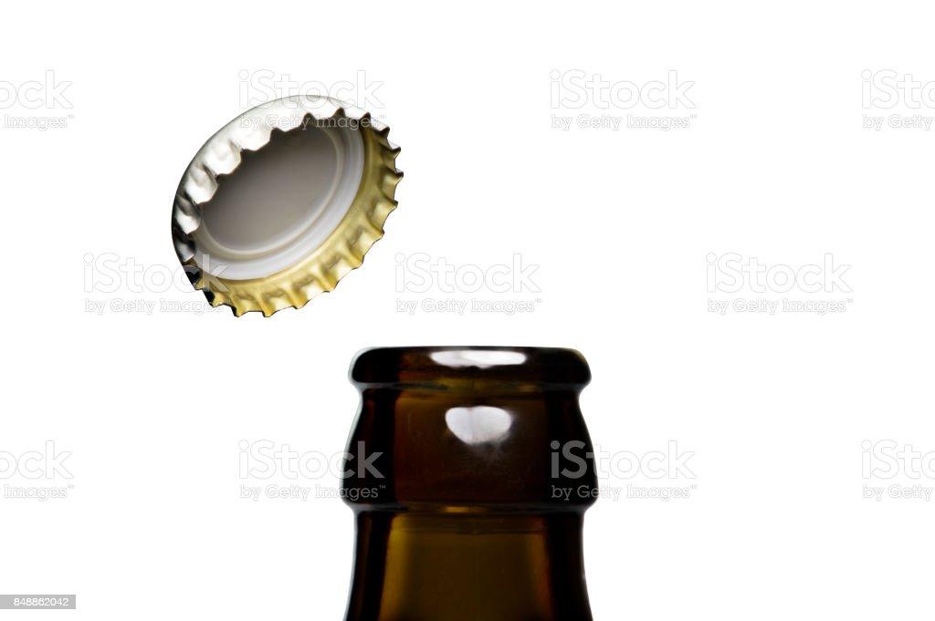 Opening of beer cap stock photo