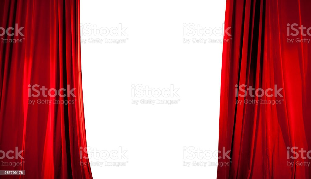 Opening of Red Stage Curtain with White Background stock photo