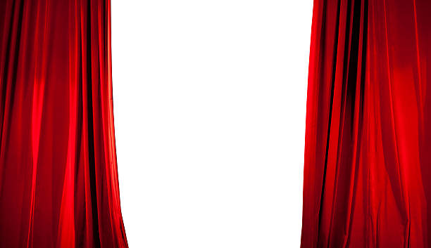 opening of red stage curtain with white background - curtain stock pictures, royalty-free photos & images